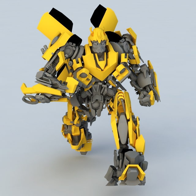 3d robot transformer yellow