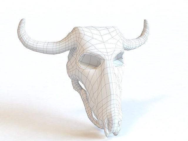 djur hornskalle 3d wireframe