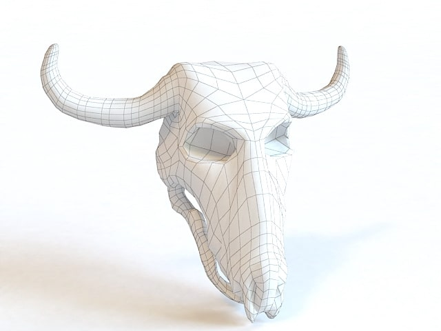 पशु सींग खोपड़ी 3d वायरफ्रेम