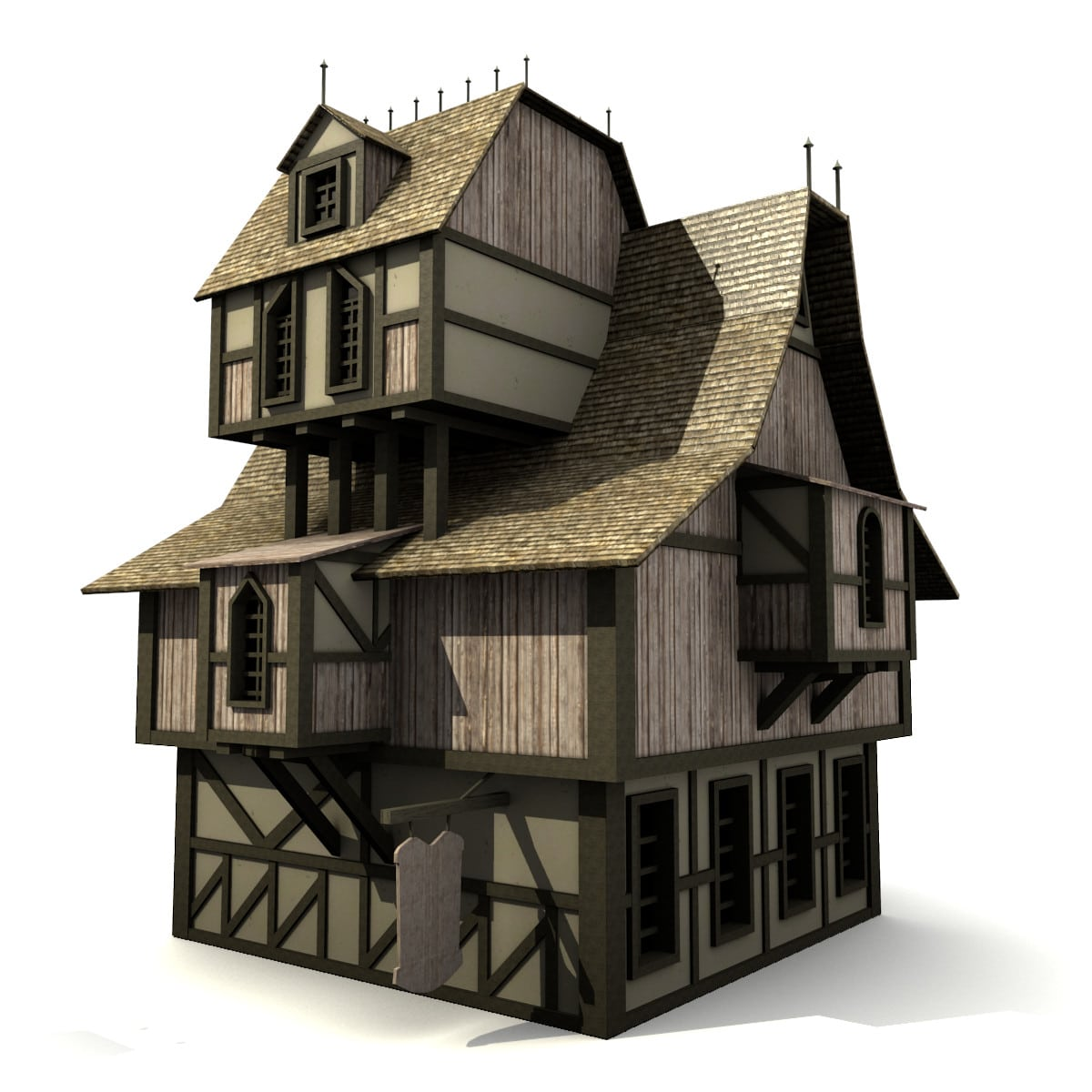 low poly game house medieval