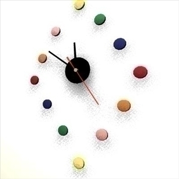 colorful clock animated 3d model ma mb 80732