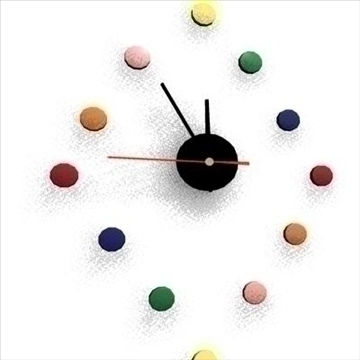 colorful clock animated 3d model ma mb 80734