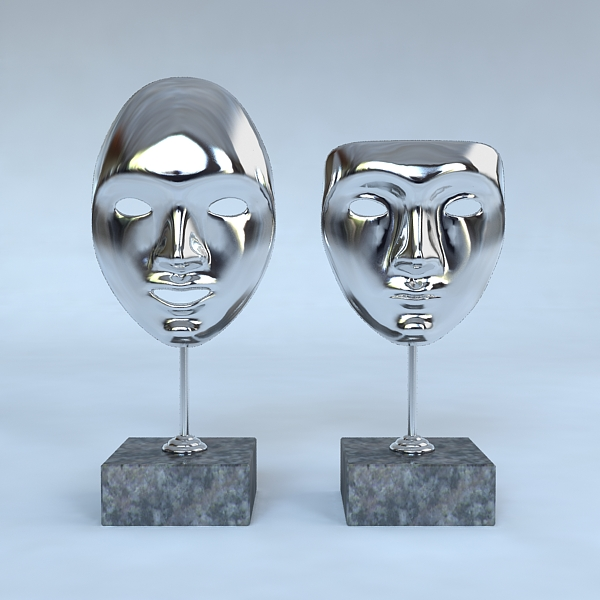 decorative accessories – 2 masks on stands 3d model 3ds max fbx texture obj 120908