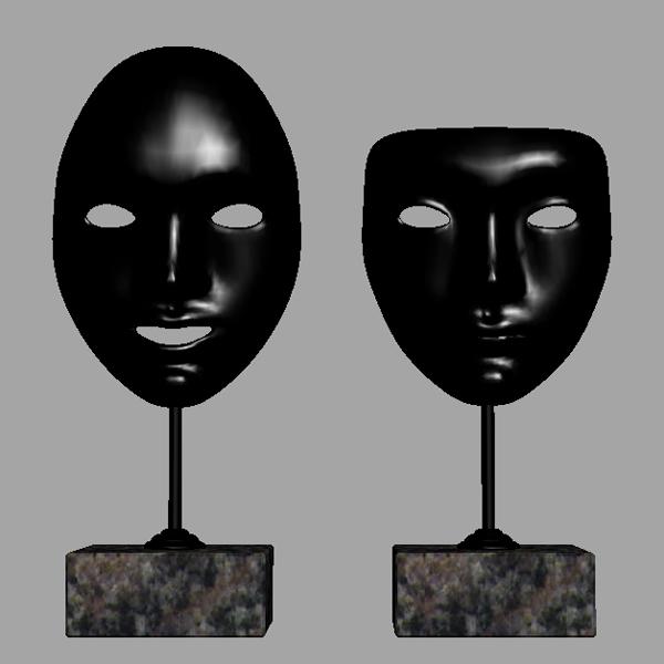 decorative accessories – 2 masks on stands 3d model 3ds max fbx texture obj 120910