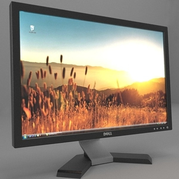 dell monitor 3d model 3ds fbx skp obj 115177
