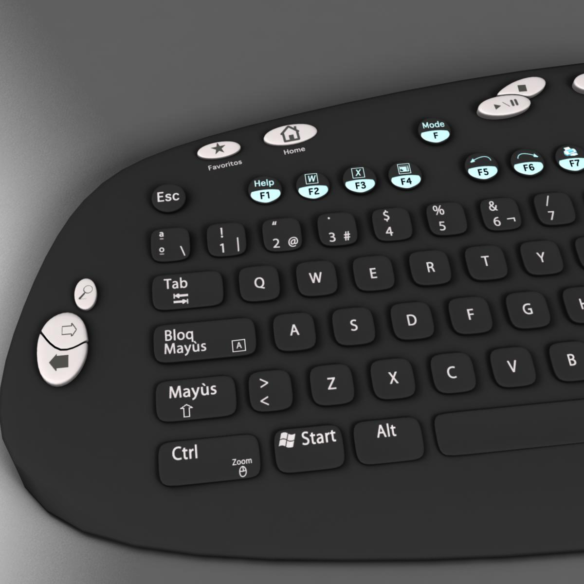 keyboard black 3d model 3ds max fbx ma mb obj 155939