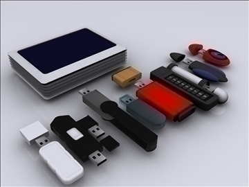 usb flash drive collection 3d model 3ds max fbx obj 92825