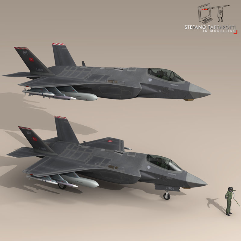 f 35a turkey air force 3d model 3ds dxf fbx c4d obj 147284