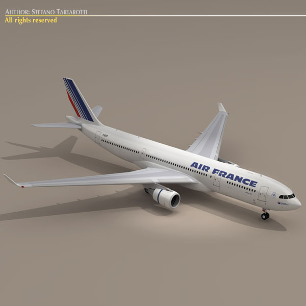 airbus a330-200 air francuska 3d model 3ds dxf c4d obj 116804