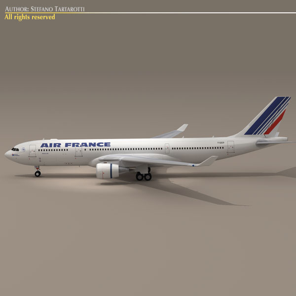 airbus a330-200 air france 3d model 3ds dxf c4d obj 116807