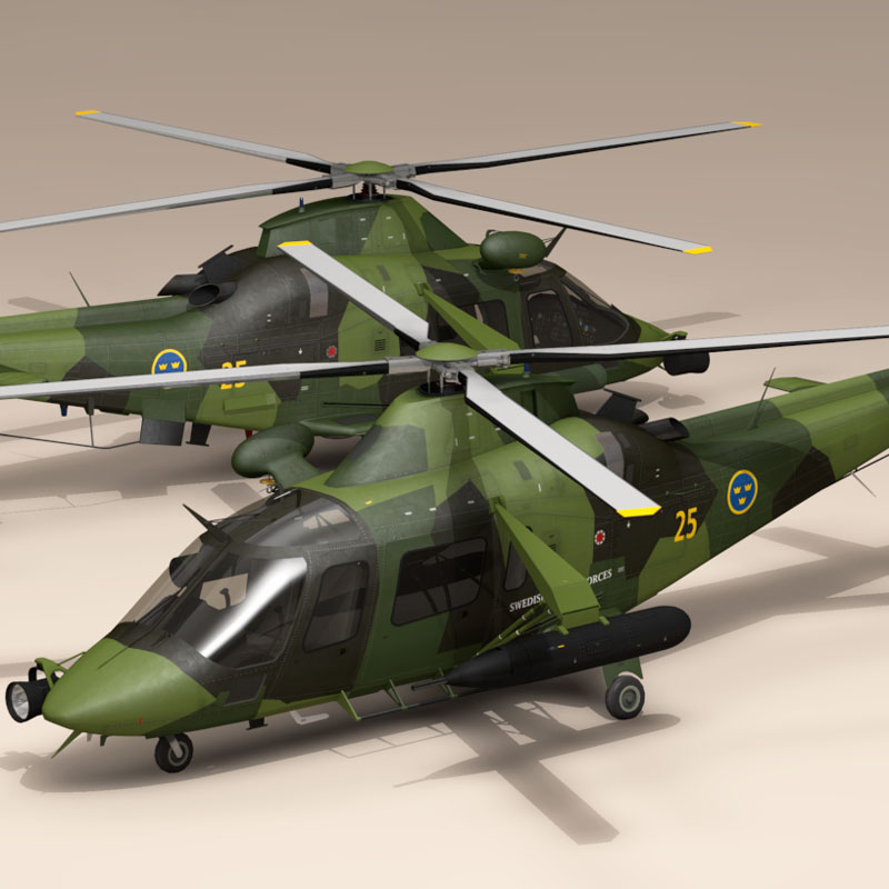aw109luh swedish air force 3d model 3ds dxf fbx c4d dae obj 153374