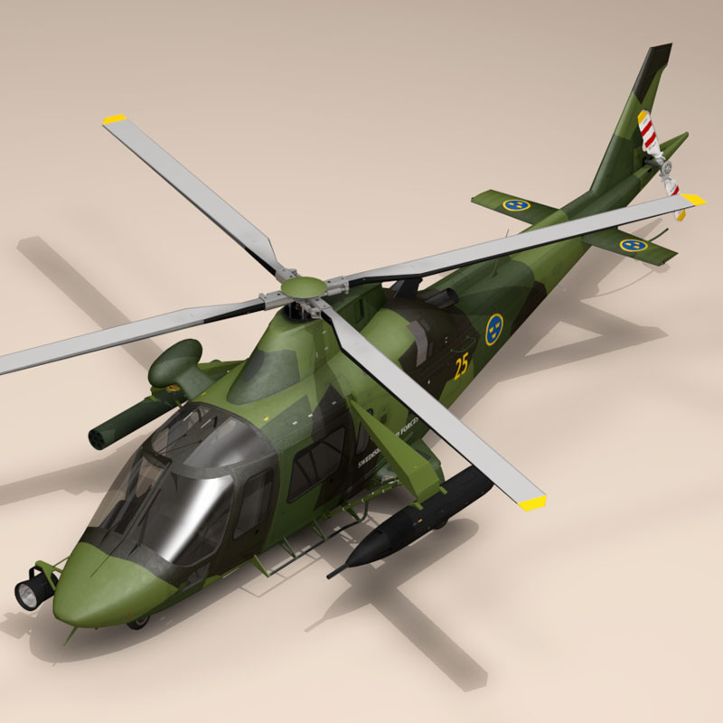 aw109luh swedish air force 3d model 3ds dxf fbx c4d dae obj 153378