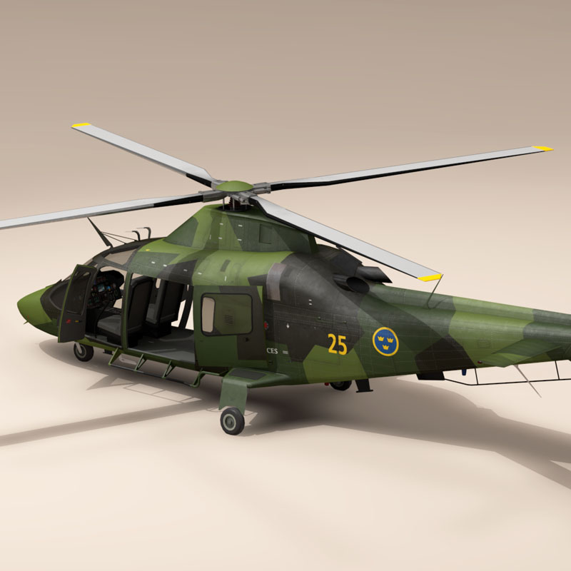 aw109luh swedish air force 3d model 3ds dxf fbx c4d dae obj 153381