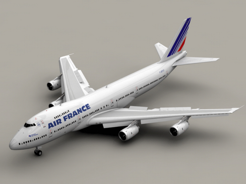 boeing 747-200 air francuska 3d model 3ds max lwo obj 113969