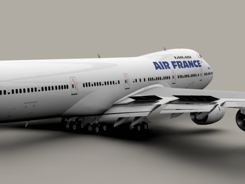 boeing 747-200 air francuska 3d model 3ds max lwo obj 113971