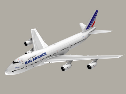 boeing 747-200 air francuska 3d model 3ds max lwo obj 113975