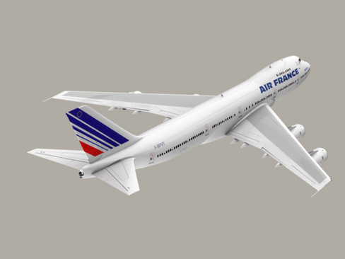 boeing 747-200 air francuska 3d model 3ds max lwo obj 113976