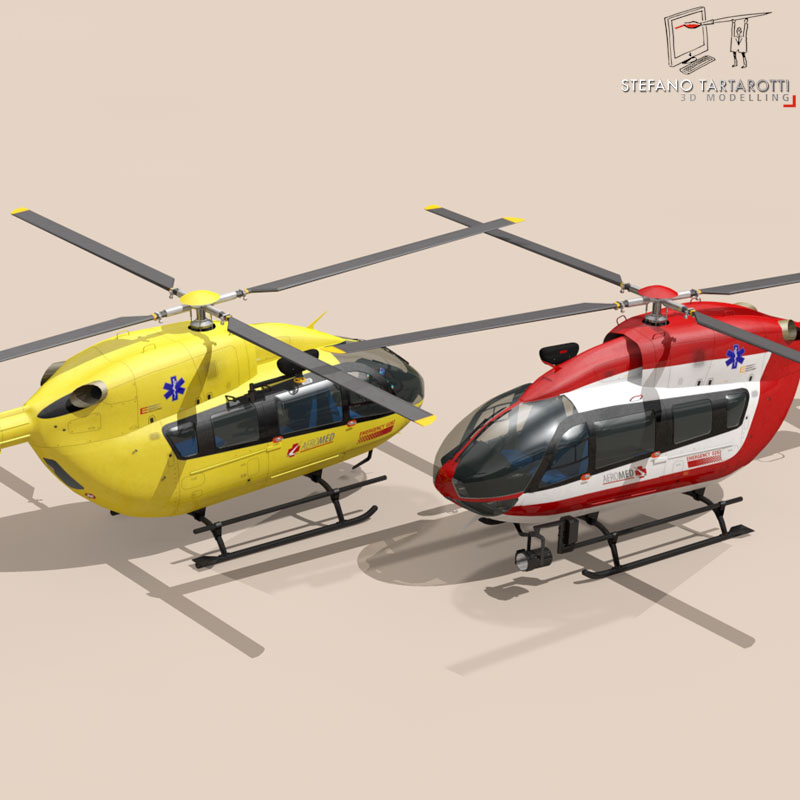 ec145 air ambulance 3d model 3ds fbx c4d dae obj 166063