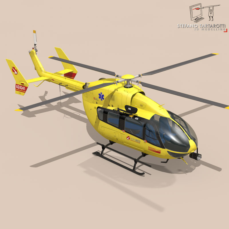 ec145 air ambulance 3d model 3ds fbx c4d dae obj 166064