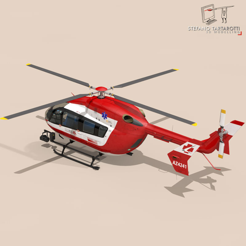 ec145 air ambulance 3d model 3ds fbx c4d dae obj 166066