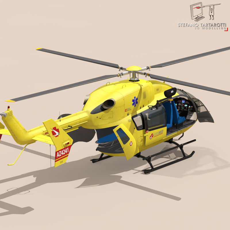 ec145 air ambulance 3d model 3ds fbx c4d dae obj 166069