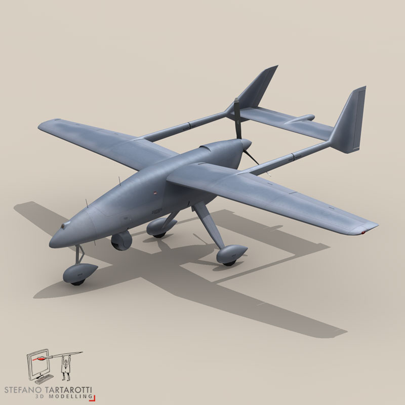 falco uav 3d model 3ds dxf fbx c4d obj 140172