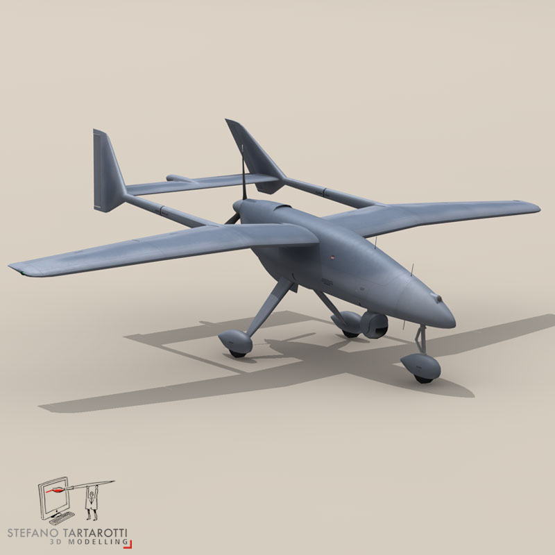 falco uav 3d model 3ds dxf fbx c4d obj 140174