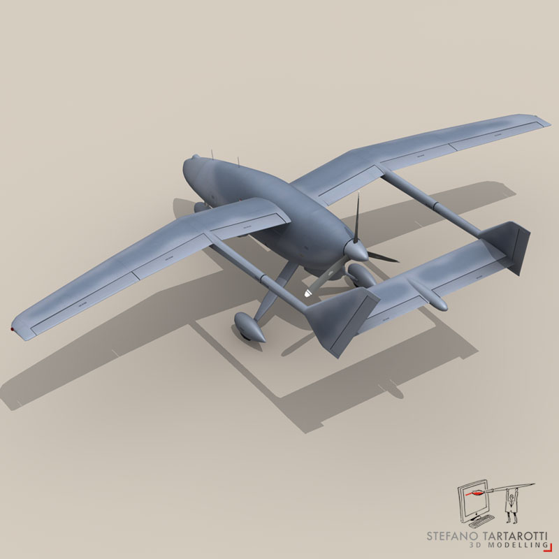 falco uav 3d model 3ds dxf fbx c4d obj 140175