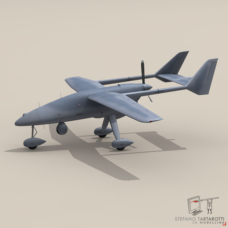 falco uav 3d model 3ds dxf fbx c4d obj 140176
