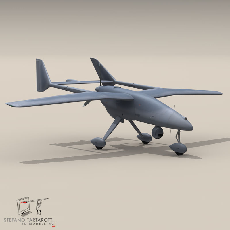 falco uav 3d model 3ds dxf fbx c4d obj 140177