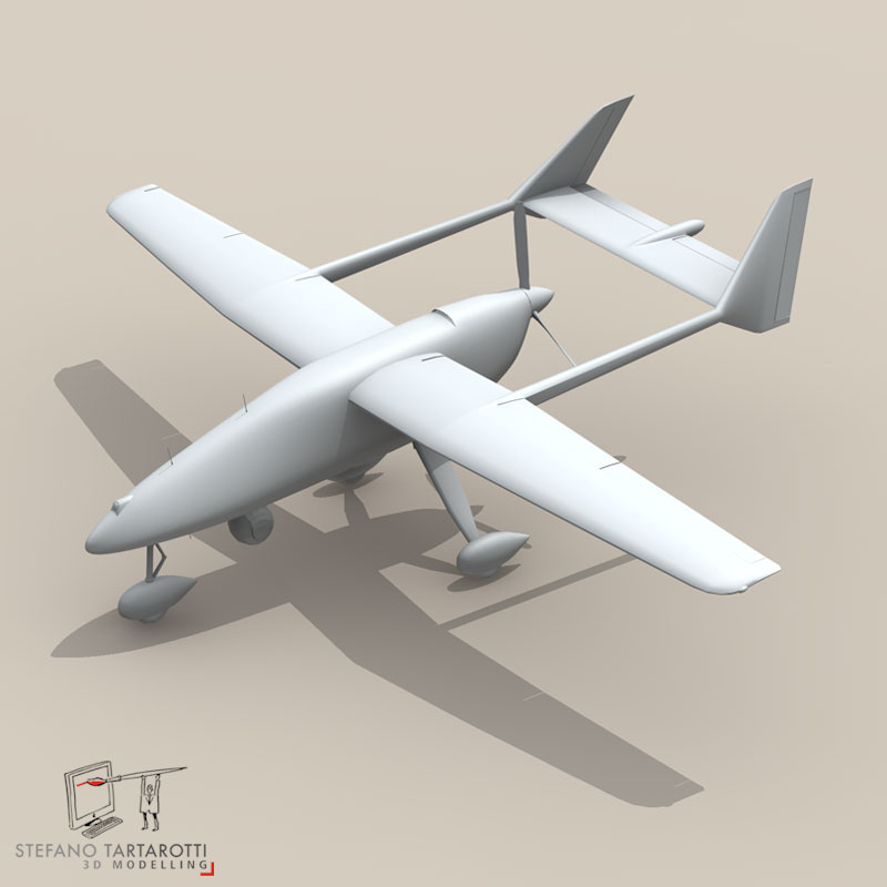 falco uav 3d model 3ds dxf fbx c4d obj 140179