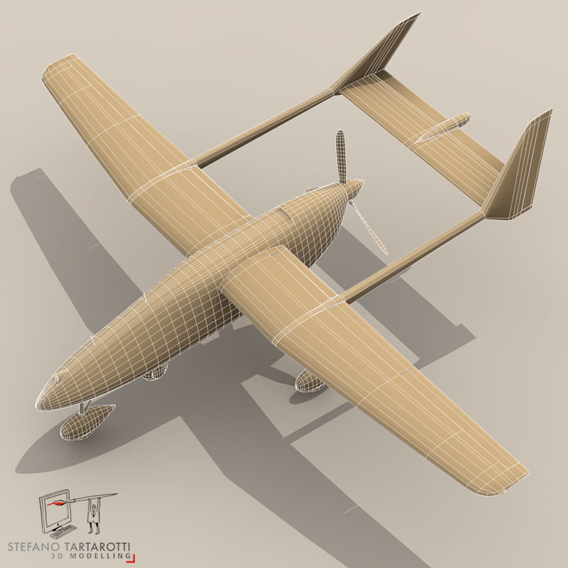 falco uav 3d model 3ds dxf fbx c4d obj 140180