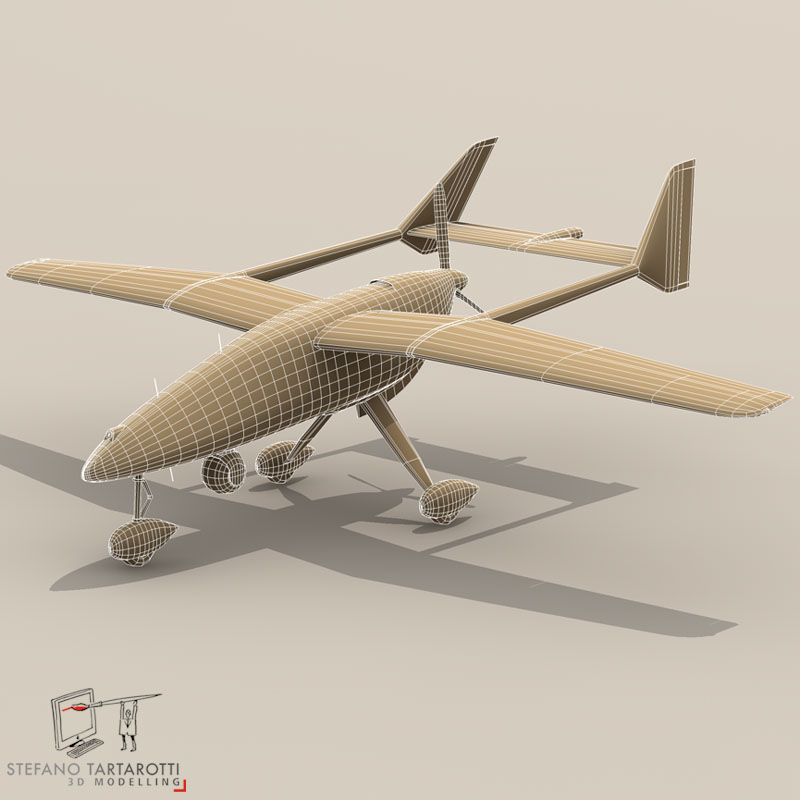 falco uav 3d model 3ds dxf fbx c4d obj 140181