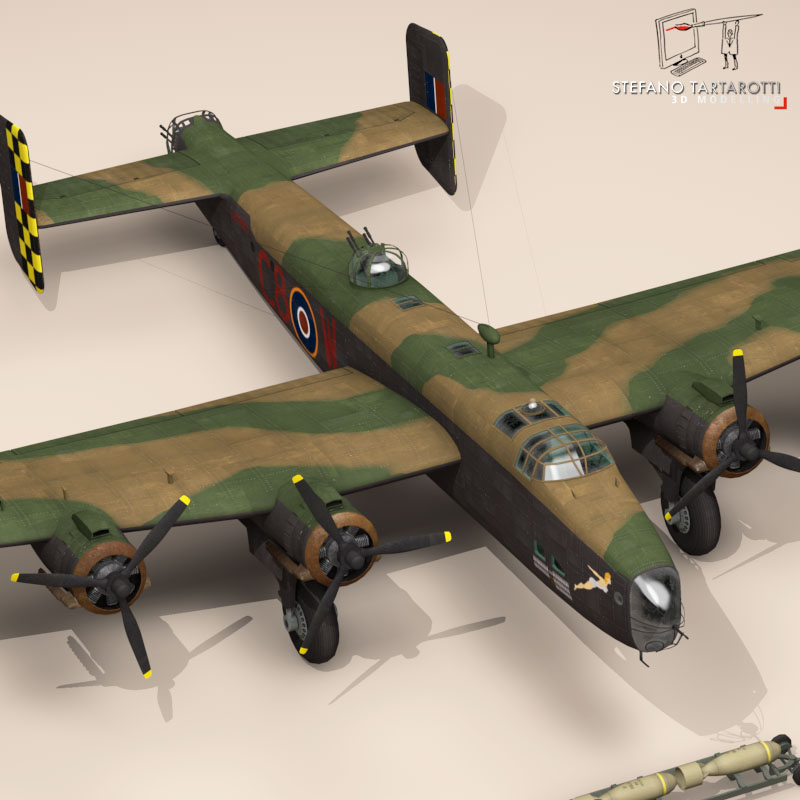 handley page halifax mk3 raf aircraft 3d model 3ds dxf fbx c4d obj 164133