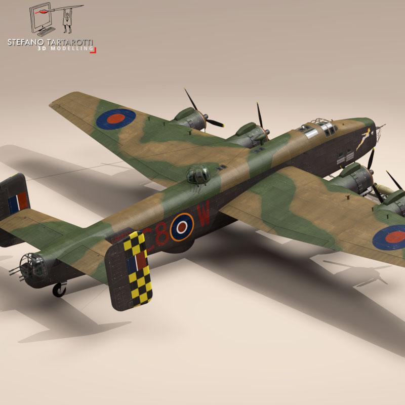 handley page halifax mk3 raf aircraft 3d model 3ds dxf fbx c4d obj 164134