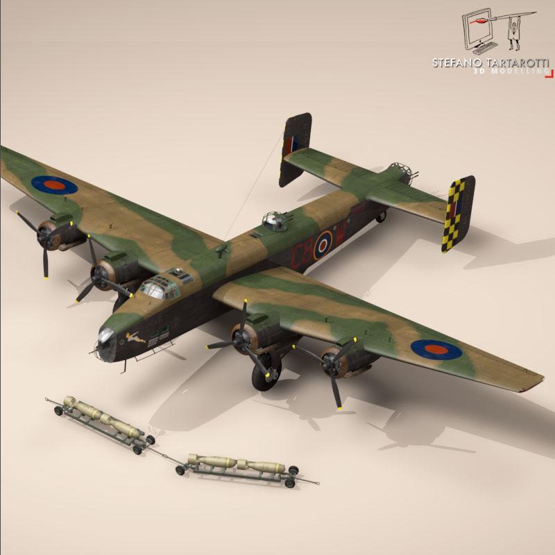 handley page halifax mk3 raf aircraft 3d model 3ds dxf fbx c4d obj 164135