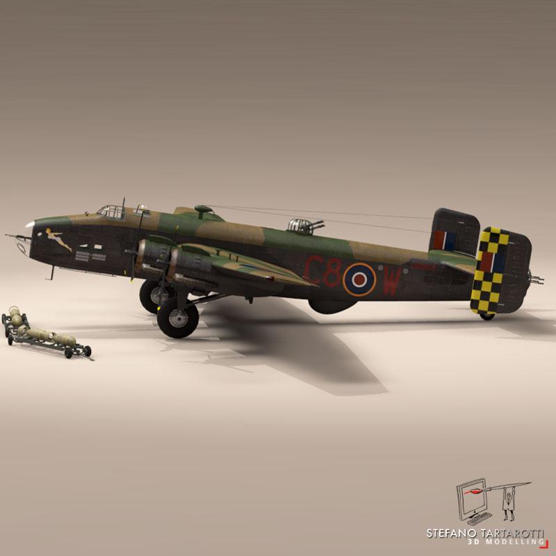 handley page halifax mk3 raf aircraft 3d model 3ds dxf fbx c4d obj 164136