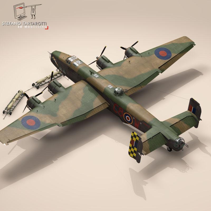 handley page halifax mk3 raf aircraft 3d model 3ds dxf fbx c4d obj 164137