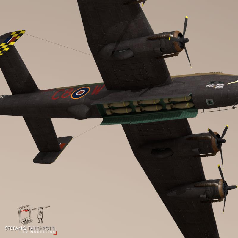 handley page halifax mk3 raf aircraft 3d model 3ds dxf fbx c4d obj 164138