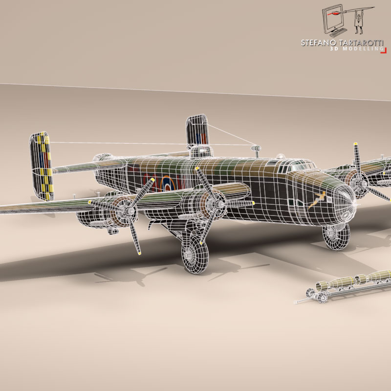 handley page halifax mk3 raf aircraft 3d model 3ds dxf fbx c4d obj 164141