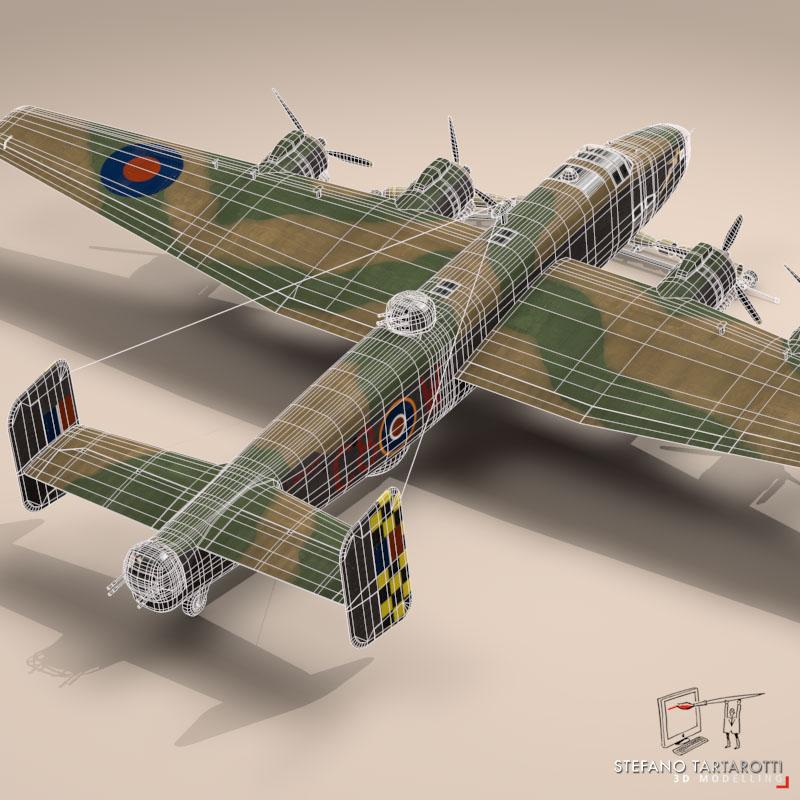 handley page halifax mk3 raf aircraft 3d model 3ds dxf fbx c4d obj 164142