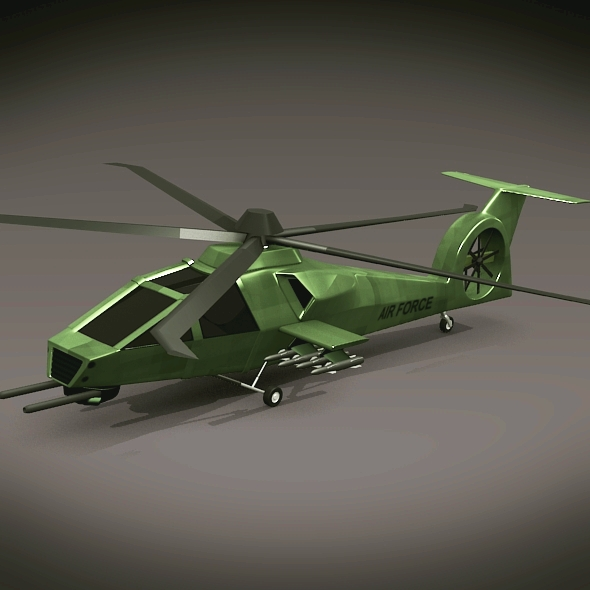 military helicopter concept 3d model 3ds fbx blend dae lwo obj 165627