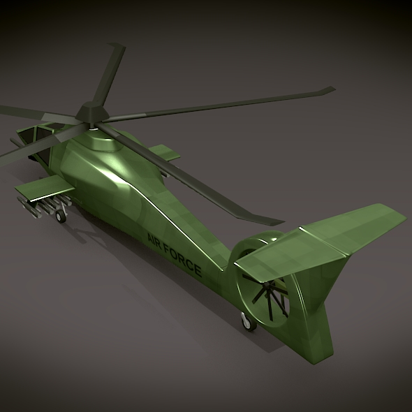 military helicopter concept 3d model 3ds fbx blend dae lwo obj 165633