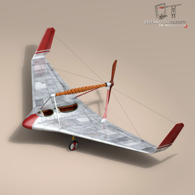 rubber band airplane 3d model 3ds dxf fbx c4d obj 145805