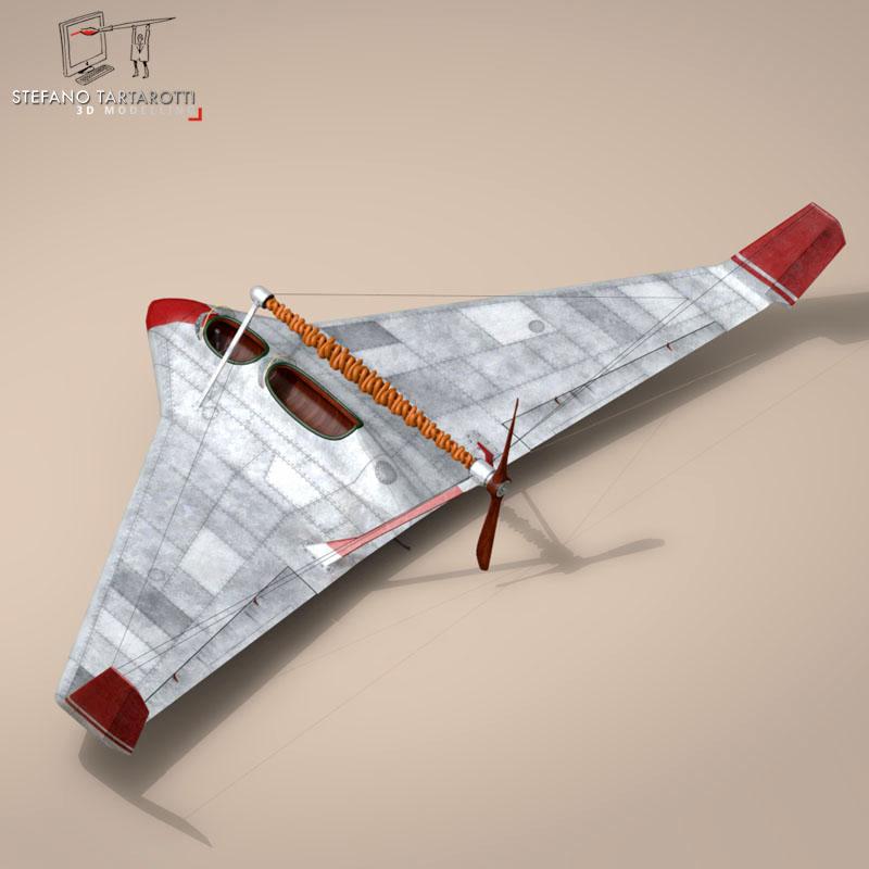 rubber band airplane 3d model 3ds dxf fbx c4d obj 145808