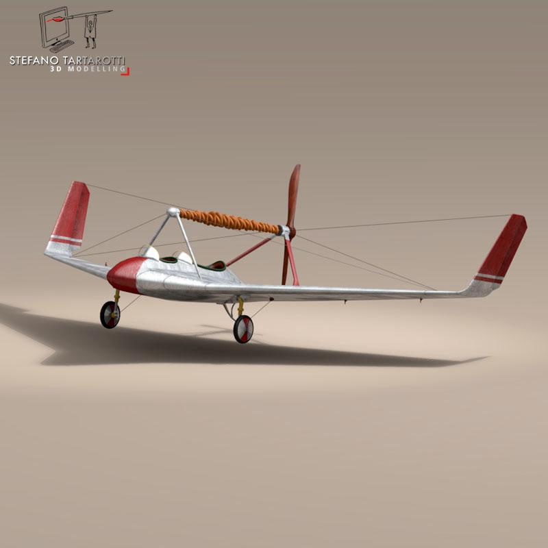 rubber band airplane 3d model 3ds dxf fbx c4d obj 145809