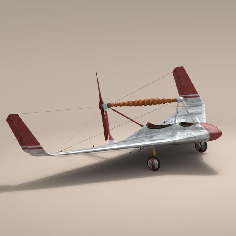 rubber band airplane 3d model 3ds dxf fbx c4d obj 145812