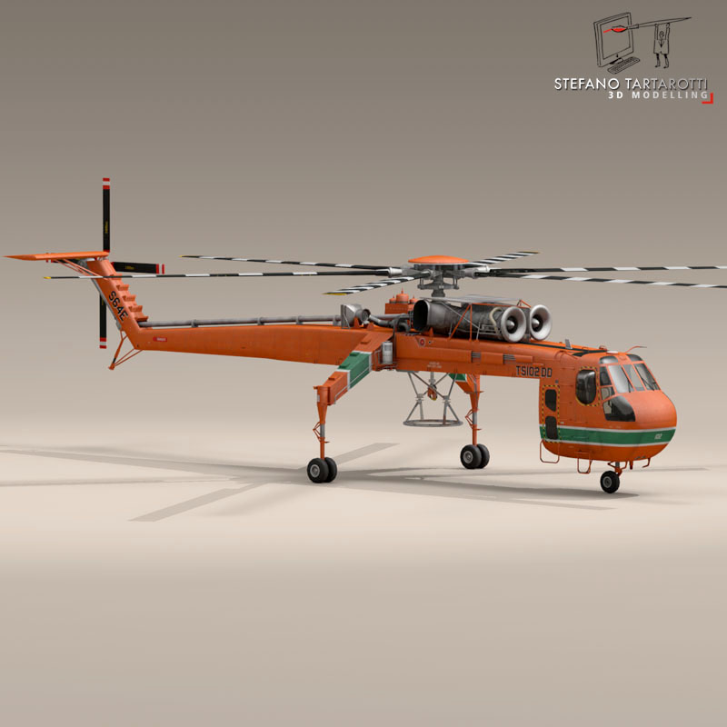 s 64e skycrane 3d model 3ds dxf fbx c4d obj 150693