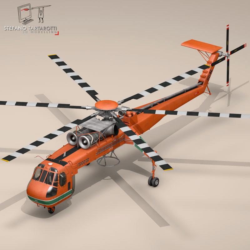 s 64e skycrane 3d model 3ds dxf fbx c4d obj 150694