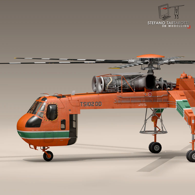 s 64e skycrane 3d model 3ds dxf fbx c4d obj 150695